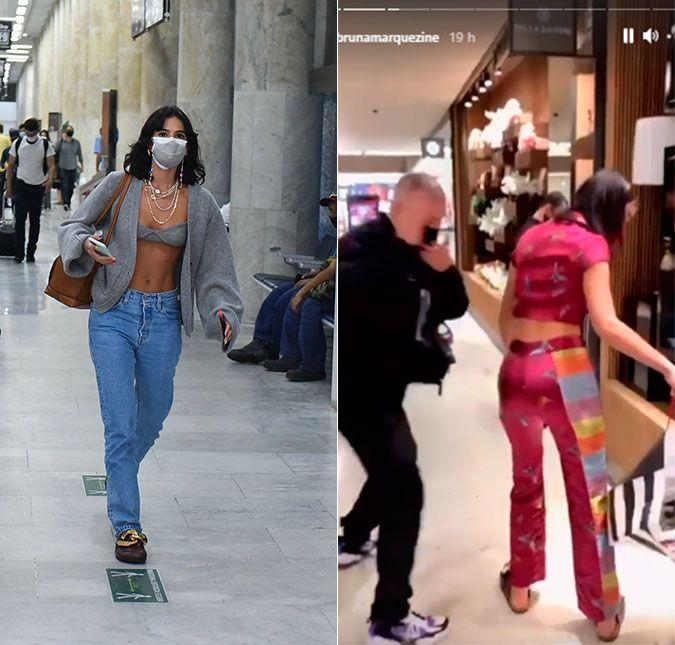 Bruna Marquezine usa com um look de mais de 50 mil reais e rouba cena em uma loja de grife em São Paulo