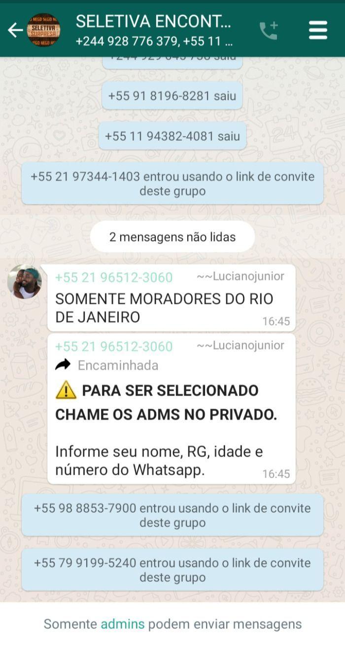 Equipe de Nego do Borel fez grupo no Whatsapp chamado SELETIVA DE ENCONTRO e está pedindo dados pessoas a membros e causa desconfiança